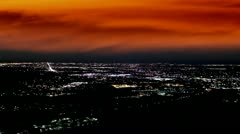 Denver skyline with very eerie orange colored clouds Stock Footage