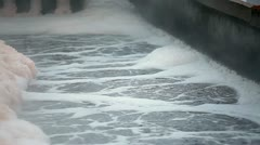 Technological process of aeration of sewage - stock footage