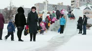 Children who move down from ice slide Stock Footage