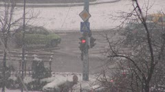 Winter snowfalls in town.Road congestion. Stock Footage