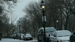 Gas Lamp Lit Avenue - stock footage