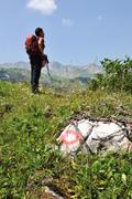 walking up to mountain hills, sport adventures - stock photo