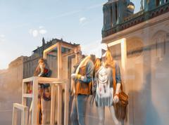 window of the clothes shop. - stock photo