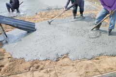 pour the cement floor. - stock photo