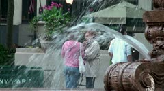 Girlfriends at the fountain in Bryant Park. NYC, USA. Stock Footage