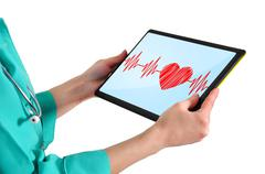 Doctor with touchpad Stock Illustration