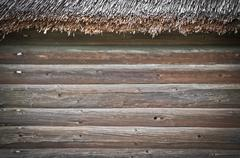 old building wooden wall - stock photo