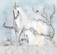 Fantasy Winter Unicorn With Foal Artwork - stock illustration
