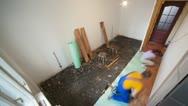 Stock Video Footage of laying laminate flooring