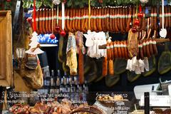 Hungarian Food in Christmas Market in Budapest Hungary 2012 - stock photo
