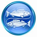 Stock Illustration of pisces zodiac button icon, isolated on white background.