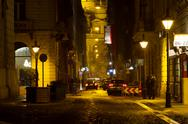 Street in Budapest Downtown Hungary at Night 2 Stock Photos