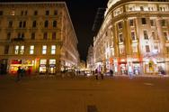 Vorosmarty Square in Budapest Hungary at Night Stock Photos
