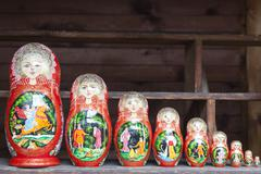 Russian dolls arranged from highest to lowest Stock Photos