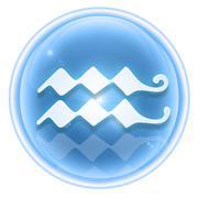 Stock Illustration of aquarius zodiac icon ice, isolated on white background.