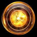 Play icon golden, isolated on black background Stock Illustration