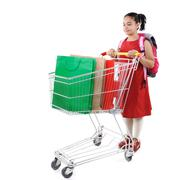 Schoolgirl shopper in red dress with shopping cart Stock Photos