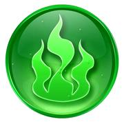 Fire icon green, isolated on white background. Stock Illustration
