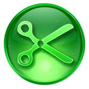 Scissors icon green, isolated on white background. Stock Illustration