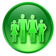 Family icon green, isolated on white background. Stock Illustration