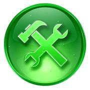 Tools icon green, isolated on white background. Stock Illustration
