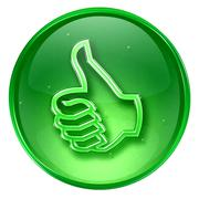 thumb up icon green, approval hand gesture, isolated on white background. - stock illustration