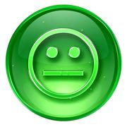 smiley face green, isolated on white background. - stock illustration