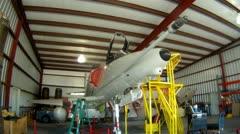 A-4 Skyhawk In Hangar Jet Fighter Stock Footage
