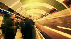 Stock Video Footage of Time Lapse of people getting on and off the Tube, London