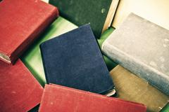 heap of old books, close-up - stock photo