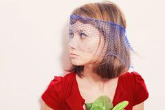Portrait of a young girl in the veil Stock Photos