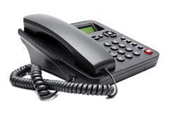 black phone isolated on white background - stock photo