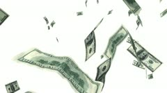 Hundred Dollar bills flying up in looped animation on white. - stock footage