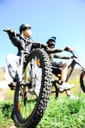 Mountain biker in action Stock Photos