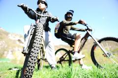 mountain biker in action - stock photo