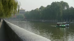 Willow relying on river,yacht on lake,Road of Forbidden City in Beijing. Stock Footage