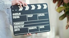 Movie clapperboard Stock Footage
