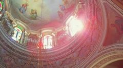 Dome of the Orthodox church. View from inside Stock Footage