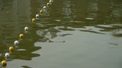 Floats on lake.Water surface.sea ocean. Stock Footage