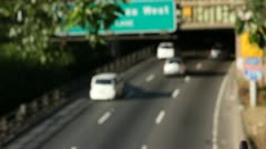 Cars travel on the Brooklyn-Queens Expressway Stock Footage