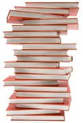 Stacked Encyclopedia with Clipping Path Isolated on a White Background - stock photo