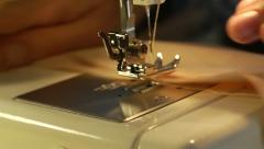 Sewing-machine person make clothes at home Stock Footage