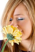 girl with flower - stock photo