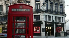 Red Telephone Box in London Stock Footage