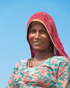 indian female worker on salt farm - stock photo