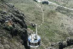 Cable car to table mountain in cape town Stock Photos