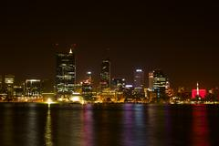 Perth City At Night Reflections On The Swan River - stock photo