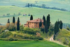 tuscany landscape - belvedere - stock photo