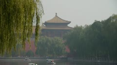 Cruise ship docks,yacht boats on lake.willow relying on river in Beijing. Stock Footage