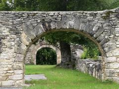 Old mason archways in summer ambiance Stock Photos